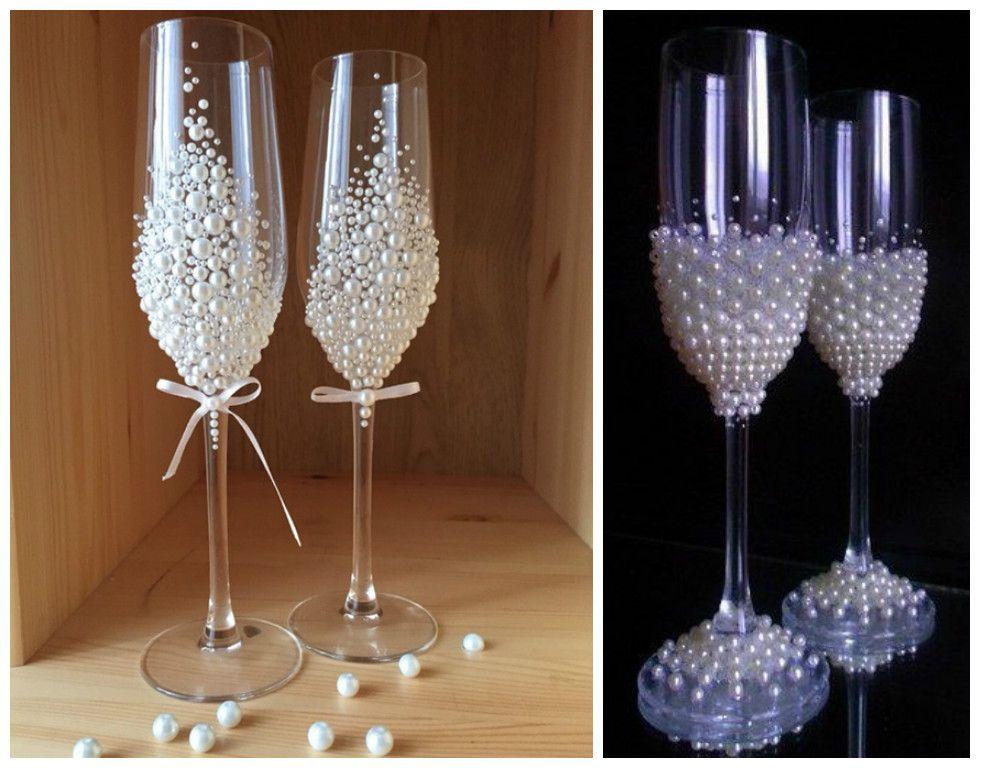 Pin de lorena esposito en 15 copas boda copas de novios - Como decorar copas para boda ...