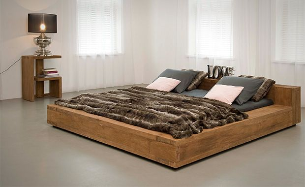 Reclaimed Teak Wood Queen Sized Bed Low Bed Frame Low Profile