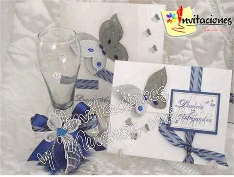 Invitacion 15 Años Motivo Mariposa En Blanco Azul Rey Y