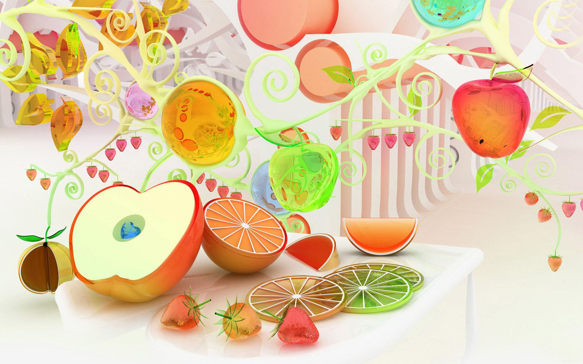 Fruits 3d wallpapers - 3d Glass Fruits Wallpaper Abstract 3d Effect Hd Wallpaper Free Download