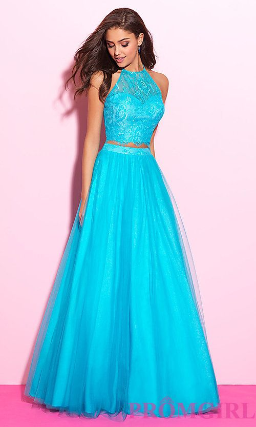 Two Piece Madison James Halter Top Prom Dress Beauty And Beast