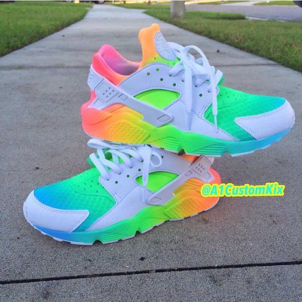 463597ae3c7be Custom Neon Rainbow Nike Huaraches