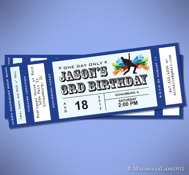 Party Package - Customized Rock Star Concert Ticket Birthday with - concert ticket birthday invitations