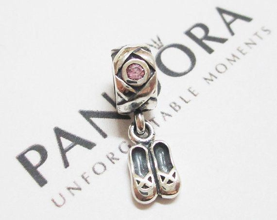5641a51acc0 790520PCZ Dancer's Shoes Authentic Pandora NEW ballet slippers charm  sterling silver-Pink CZ