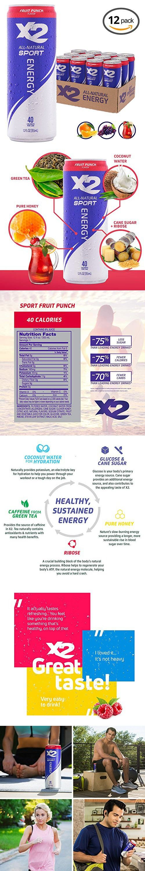 X2 All Natural Sport Hydrating Energy Drink Great Tasting