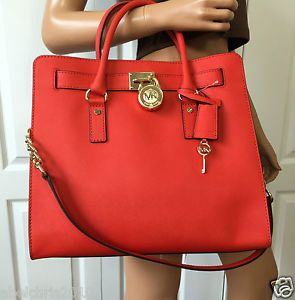 Michael Kors Hamilton Large Saffiano Leather Tote Shoulder Mandarin Bag Purse Ebay