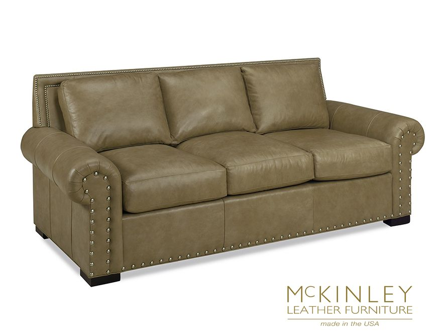 From Mckinley Leather Our Rianne Sofa Is Shown In Rio Stone Ap And Sports A Lot Of Pewter Nailhead Trim That Adds Zing Without Taking Over