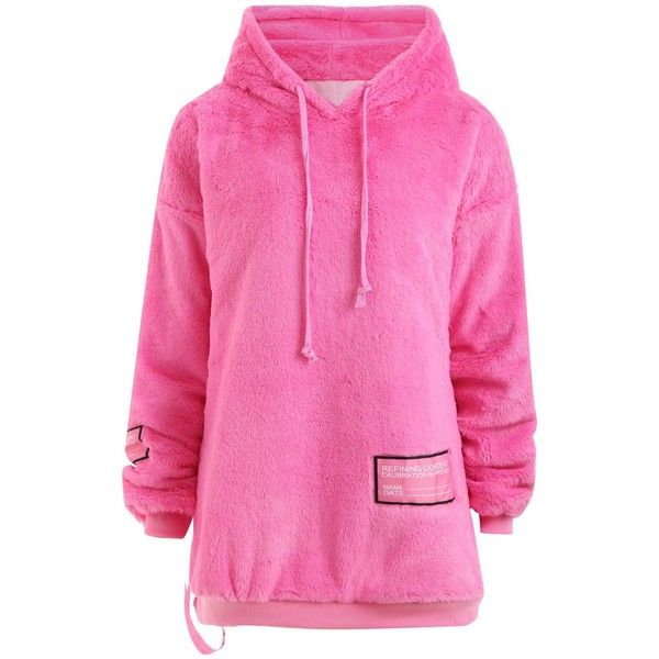 Pink 2xl Plus Size Letter Fuzzy Pullover Hoodie ($23) ❤ liked on ...