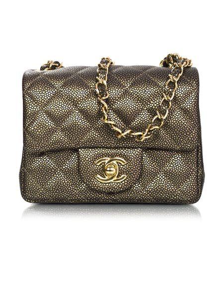 3472ff7a Chanel Dark Gold Caviar Square Mini Flap Bag with Box and DB ...