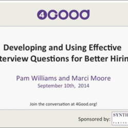 High Quality Developing And Using Effective Interview Questions For Better  Hiring By Pam Williams And Marci