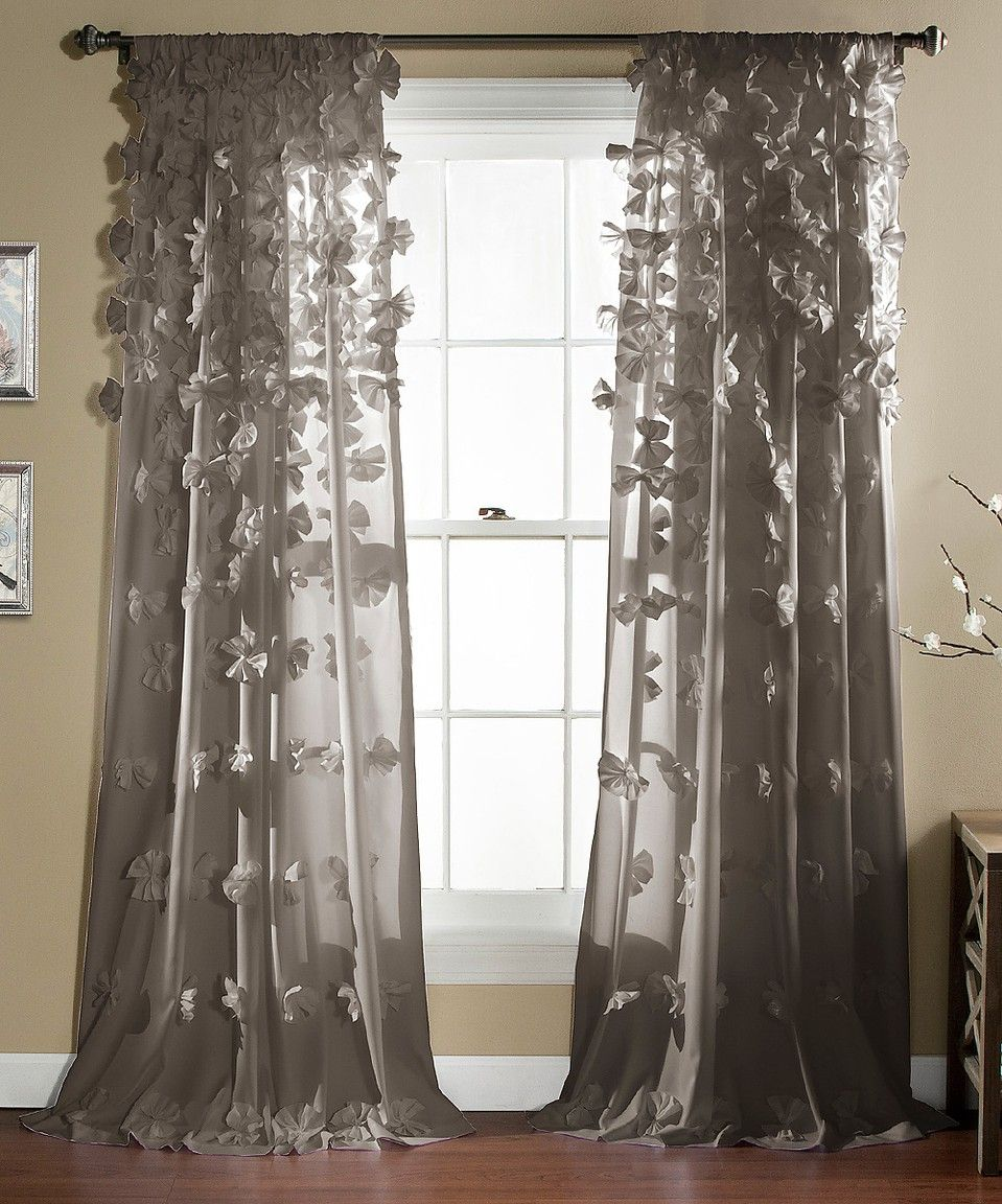 Gray Bo Curtain Panel With Rosette Waterfall