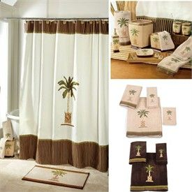 High Quality Banana Palm Tree Shower Curtain And Bath Accessories By Avanti