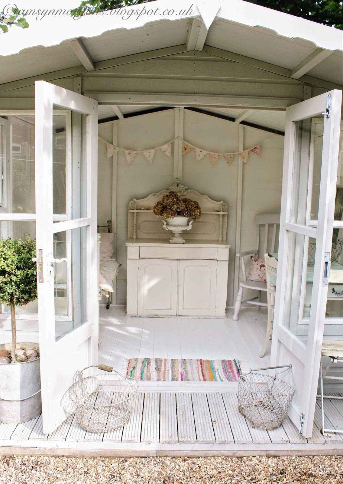 The Villa On Mount Pleasant Summerhouse Makeover Summer House Interiors Shed Interior Shabby Chic Outdoor Decor