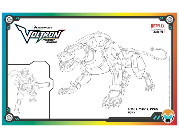 Voltron Yellow Lion Coloring Page