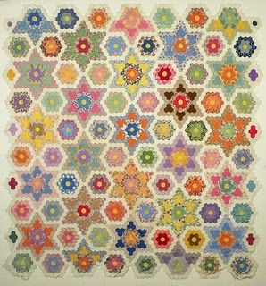Stars and Flowers Hexagon Quilt- Whoa.