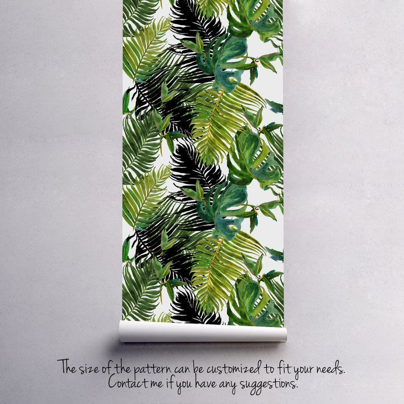 Fresh Green Tropical wallpaper || Exotic flowers and leaves wall mural || Self adhesive || Removable #137