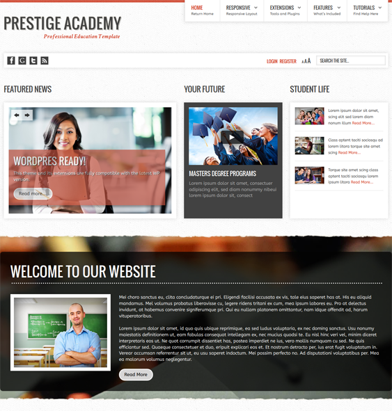 This education WordPress theme for schools features a responsive ...