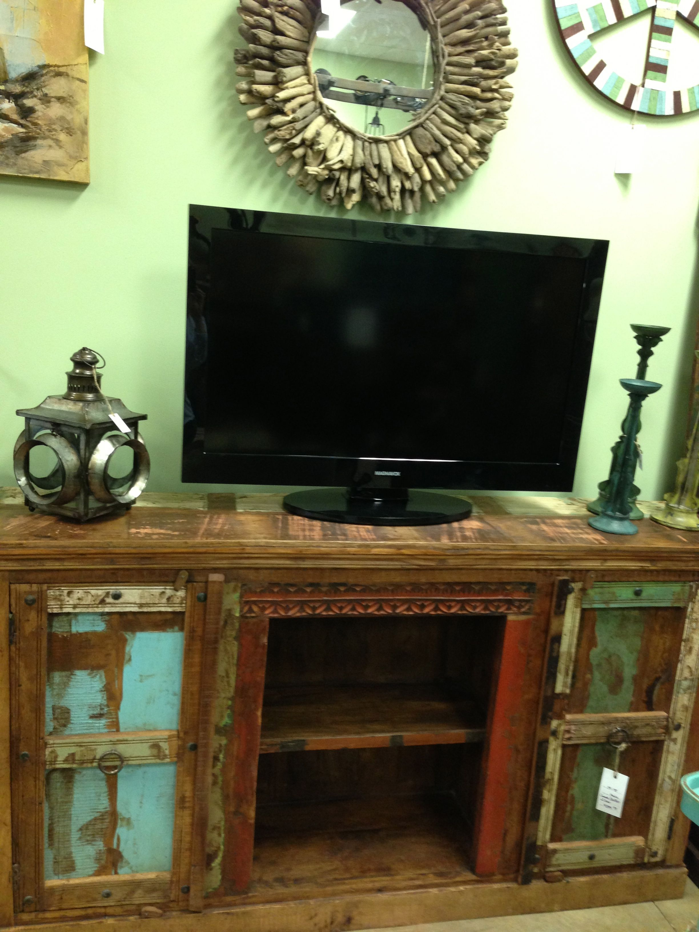 Reclaimed Wood Media Console Cabinet Distressed Vintage Import Unique  Furniture