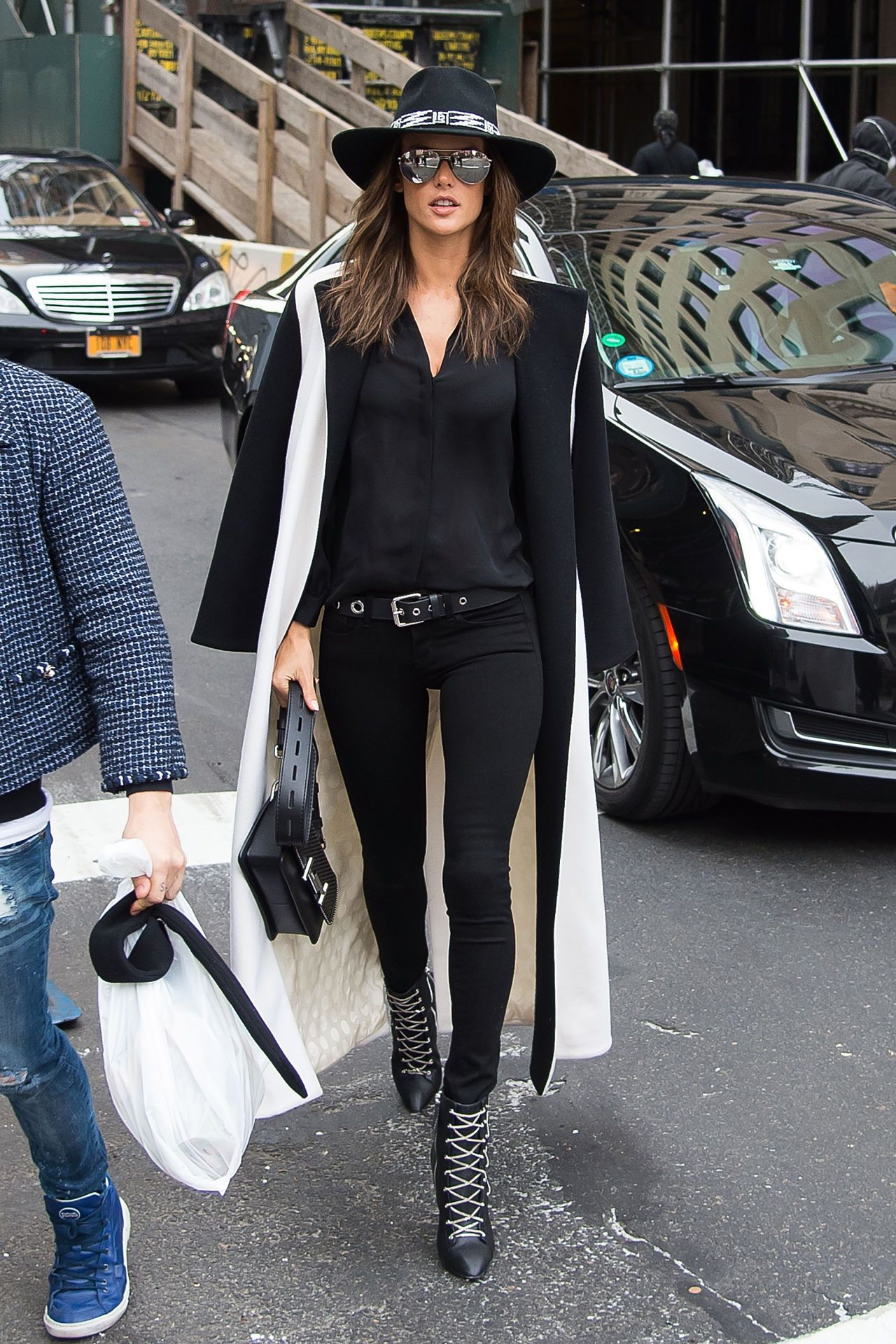 Alessandra Ambrosio sported a fancy coat on her way to the Victoria's Secret Fashion Show. See what other Victoria's Secret Angels we wearing en route as well: