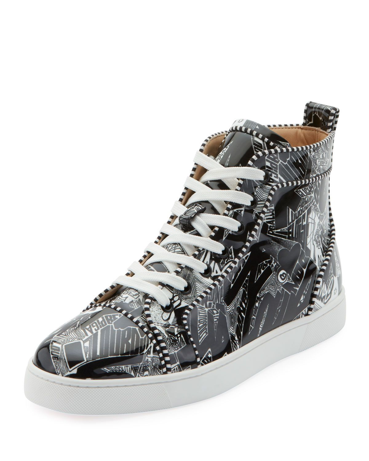 a0f69b9252fa CHRISTIAN LOUBOUTIN MEN S LOUIS ORLATO GRAFFITI HIGH-TOP SNEAKERS.   christianlouboutin  shoes