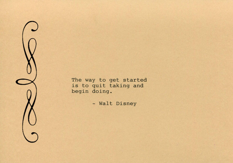 Walt Disney Made on Typewriter Art Quote Wall Art - The way to get ...