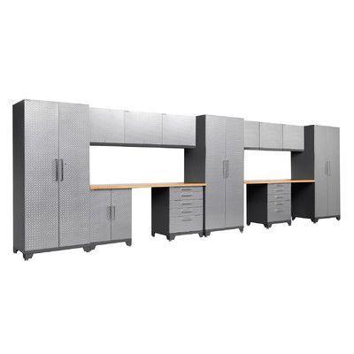 Newage Products Performance Plus Diamond Series 7 H X 23 W X 2 D 14 Piece Cabinet Set Color Silver Storage Cabinet Shelves Cabinetry Diamond Plate