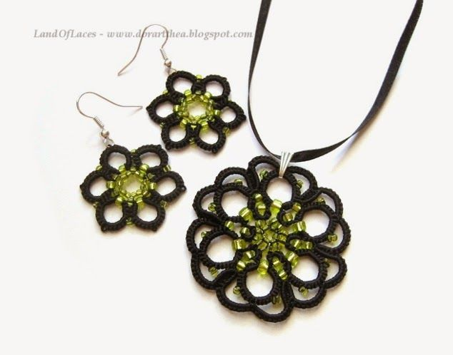 Green-yellow and black lace jewelry - gothic pendant and earrings