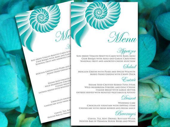 Beach Wedding Menu Card Template Entree Card - Beach Menu Teal Gray ...