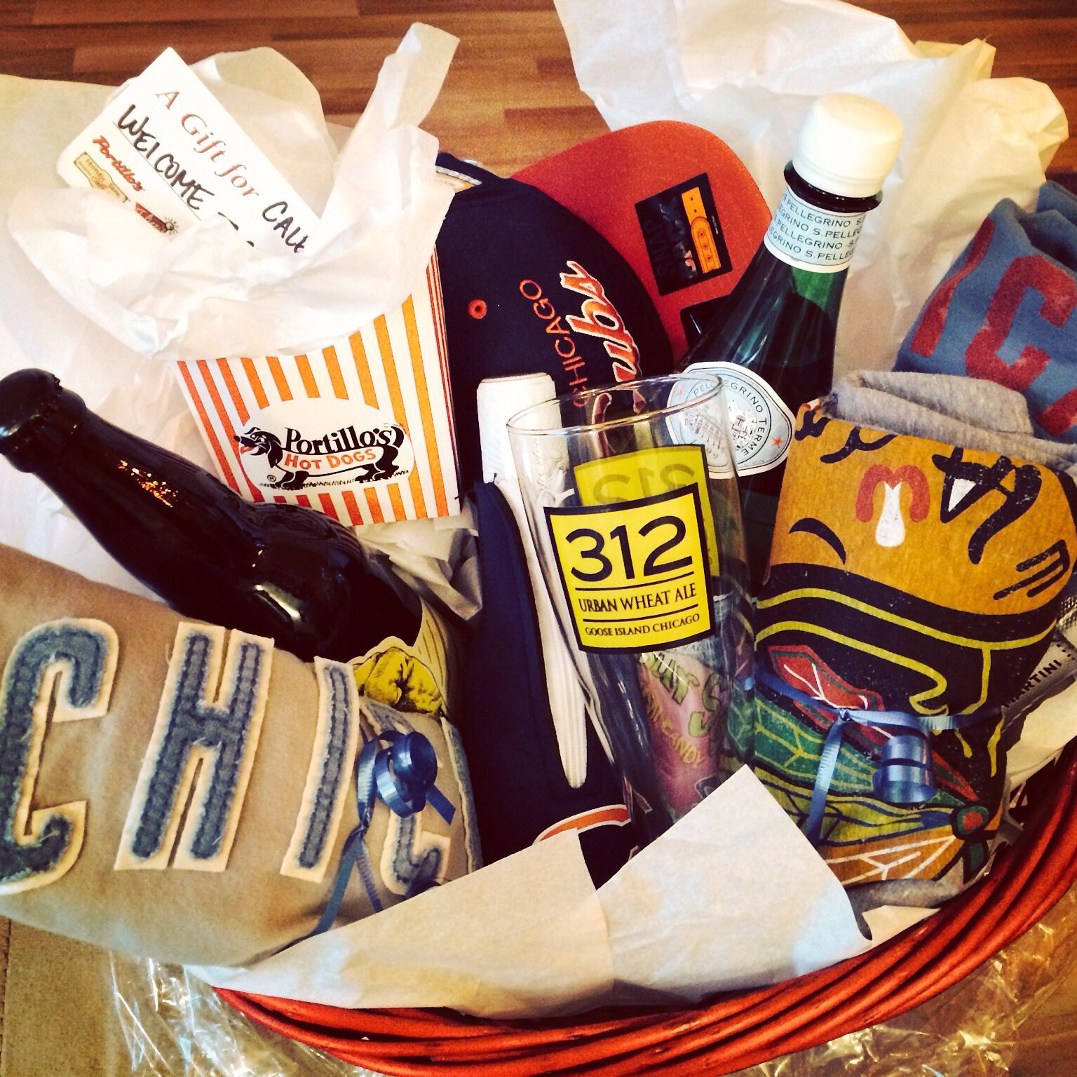 Welcome to Chicago gift basket #portillos #revolutionbrewery #blackhawks # cubs #bears