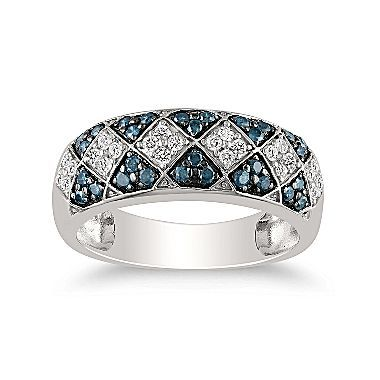 Blue Diamonds, Ring 1/2 CT. T.W. Sterling Silver - jcpenney