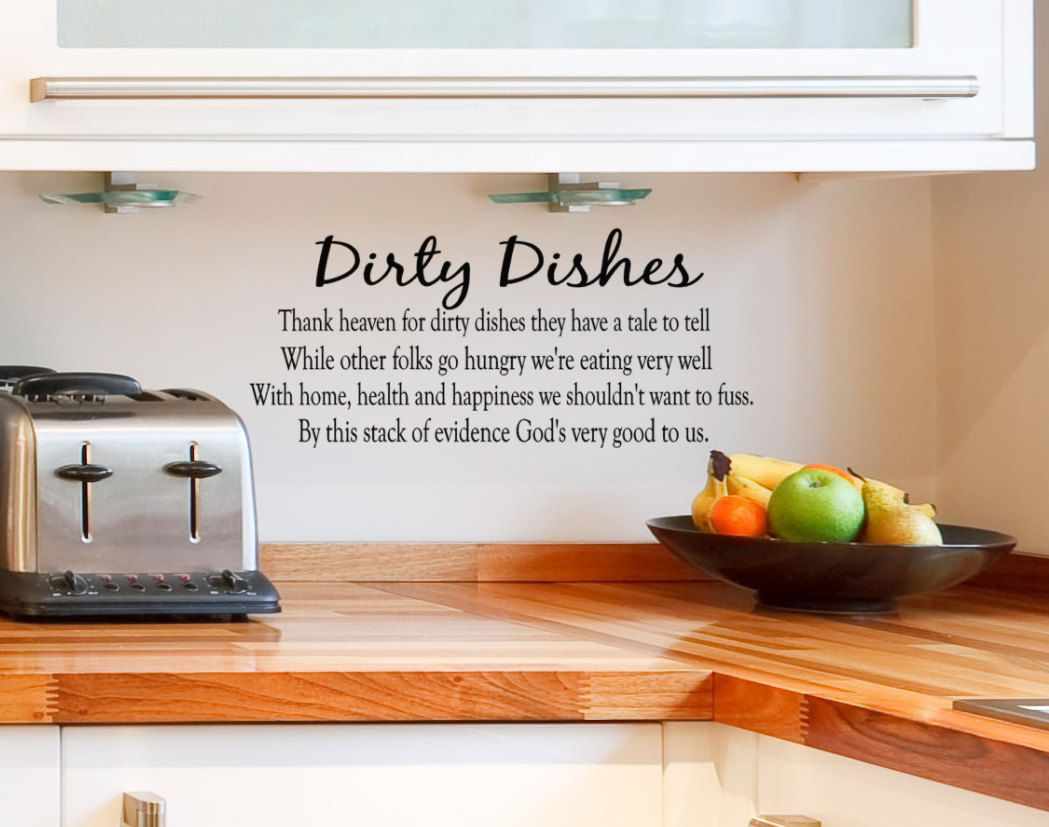 Superior Kitchen Wall Decal Dirty Dishes Vinyl Lettering Quote On Etsy,