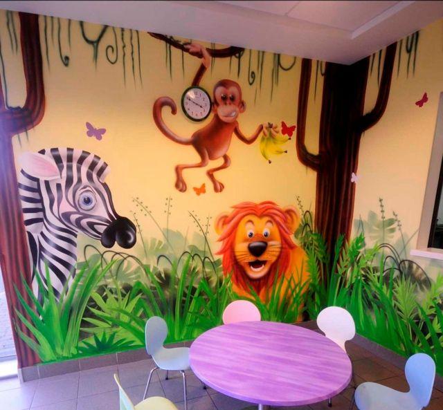 Ideen Wandgestaltung Mit Farbe- Handgemalte Motive Im