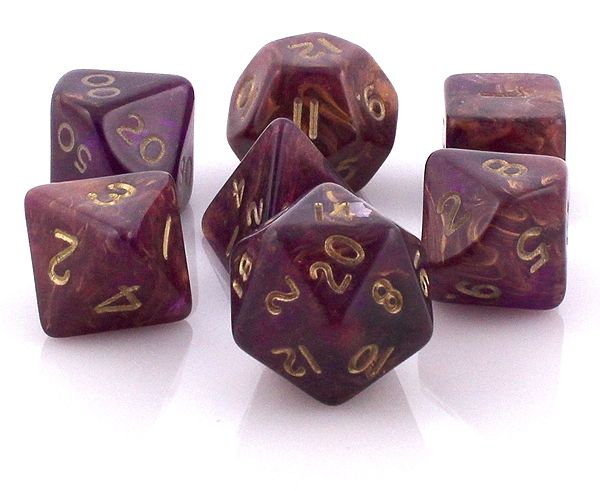 RPG Dice Set (Ancient Purple) roleplaying game dice + bag