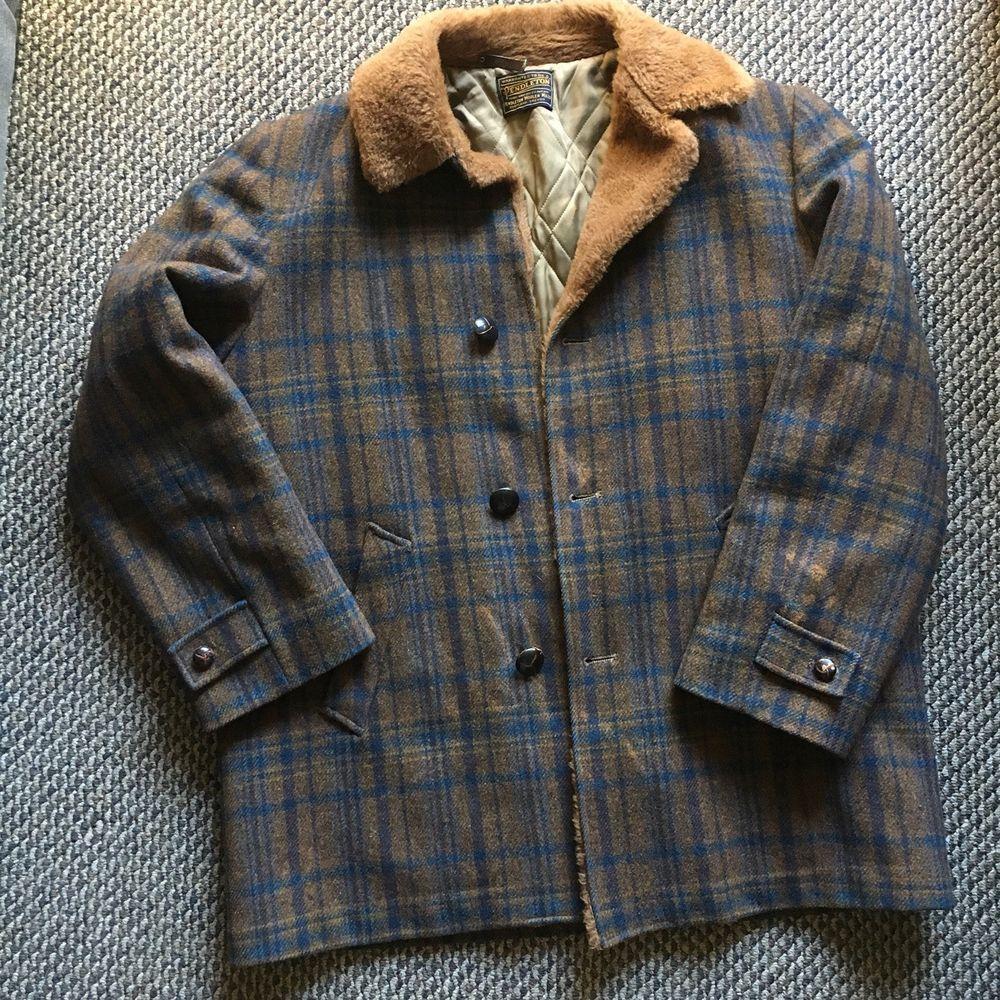 Vintage Pendleton Men S Large Plaid Wool Fur Collar Coat Jacket Blue Brown Ebay Fur Collar Coat Pendleton Clothing Pendleton Coat [ 1000 x 1000 Pixel ]