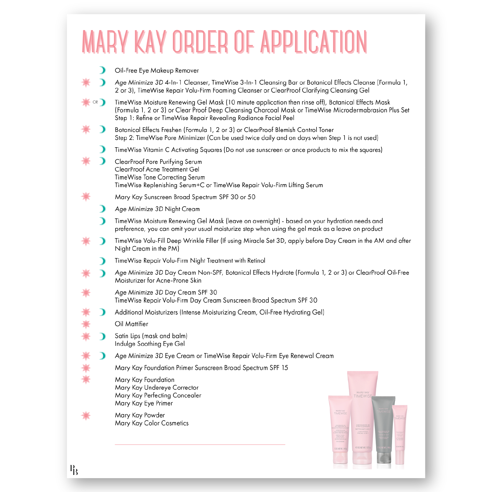 Order of Application I Mary kay, Mary kay party, Mary