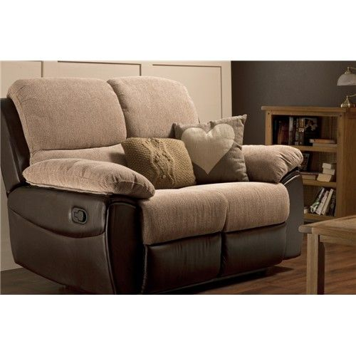 World Furniture Rio 2 Seater Recliner Beige Brown Leather Fabric Recliner Sofa Leather Corner Sofa Sofa Sectional Sofa With Recliner