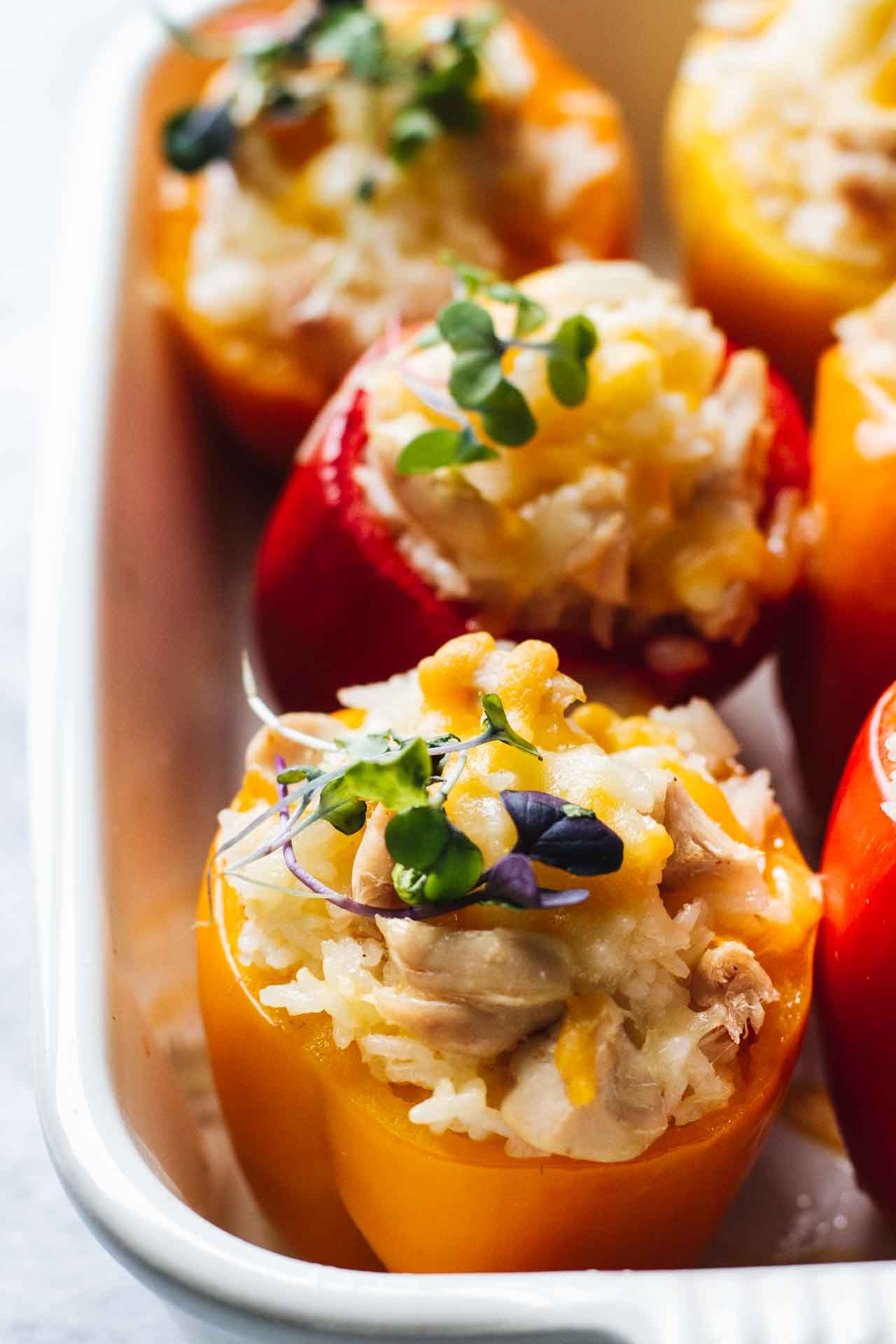 Cheesy Chicken And Rice Stuffed Peppers Jar Of Lemons Recipe Stuffed Peppers Cheesy Chicken Stuffed Peppers With Rice