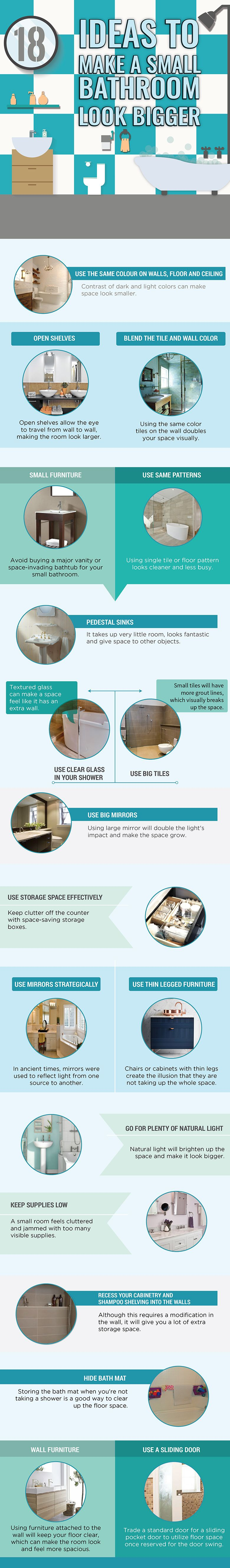 Make a Small Bathroom Bigger With These Effective Ideas #Infographic