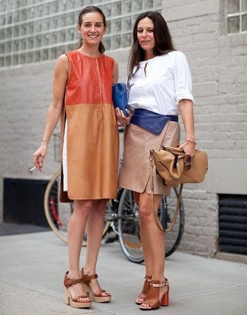 Street Style: A color blocked dress is even cooler in leather.... - Street Fashion