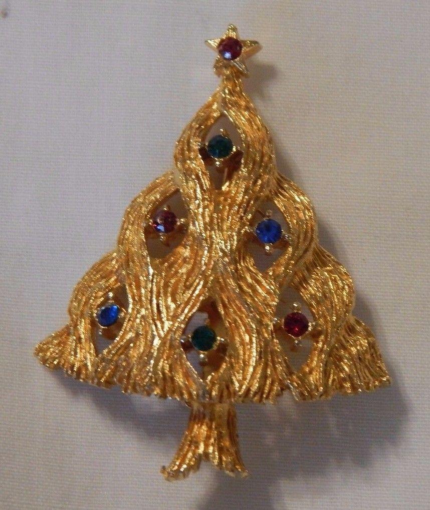 dd5ae0511 Old JJ Designer Signed Rhinestone Christmas Tree Pin. | American ...