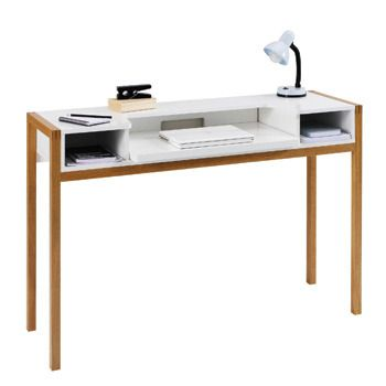 Beautiful Farringdon Double Laptop Desk (1290 031) Painted White With Oak Legs, 132cm Nice Look