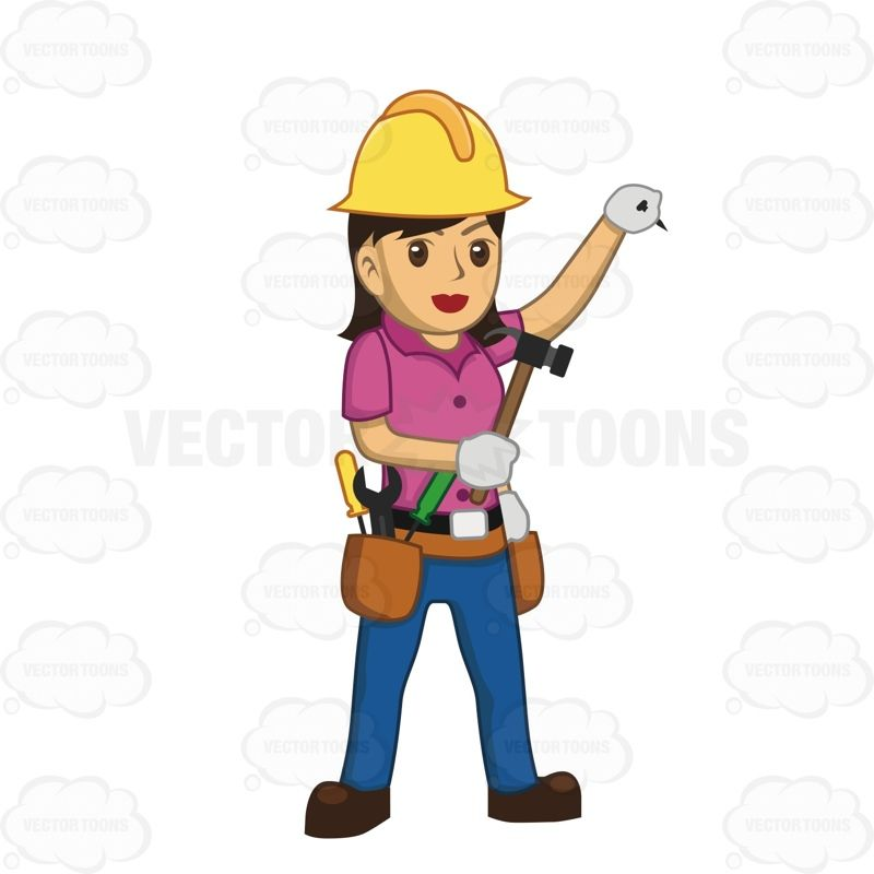 Female Construction Worker Holding A Nail Up In One Hand ...