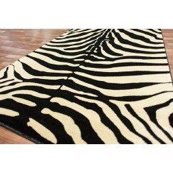 Zebra Print Animal Skin Area Rug Black Cream Safari Room Size Ter