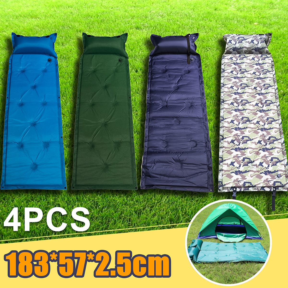Outdoor Polyester Camping Self Inflating Air Mat Mattress Pad Pillow Waterproof Hiking Sleeping Bed 4 Colors Walmart Com Camping Sleeping Pad Air Mattress Camping Camping Mat