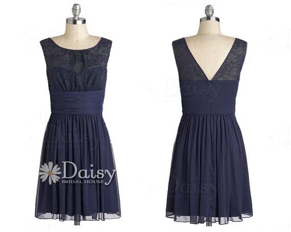 Vintage Lace Bridesmaid Dress,Navy Bridesmaid Dress