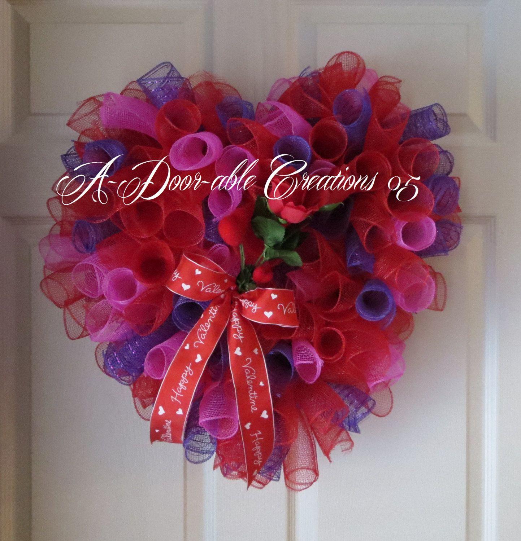 Heart Shaped Valentine/Roses Spiral Deco Mesh Wreath. $55.00, via Etsy.