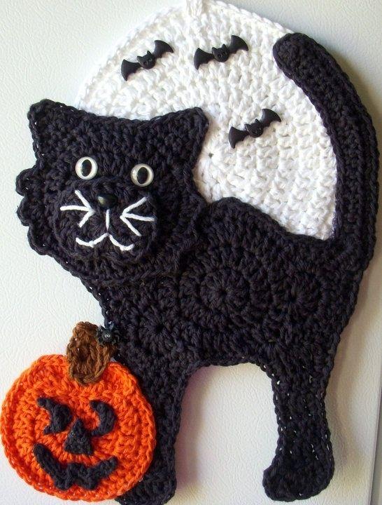 Crochet Black cat, by Jackie Barnes Halloween Ideas Pinterest - halloween decorations black cat