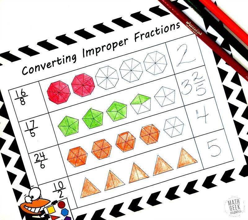 Help Kids Make Sense Of Improper Fractions Free Coloring Pages Improper Fractions Fractions Worksheets Fractions