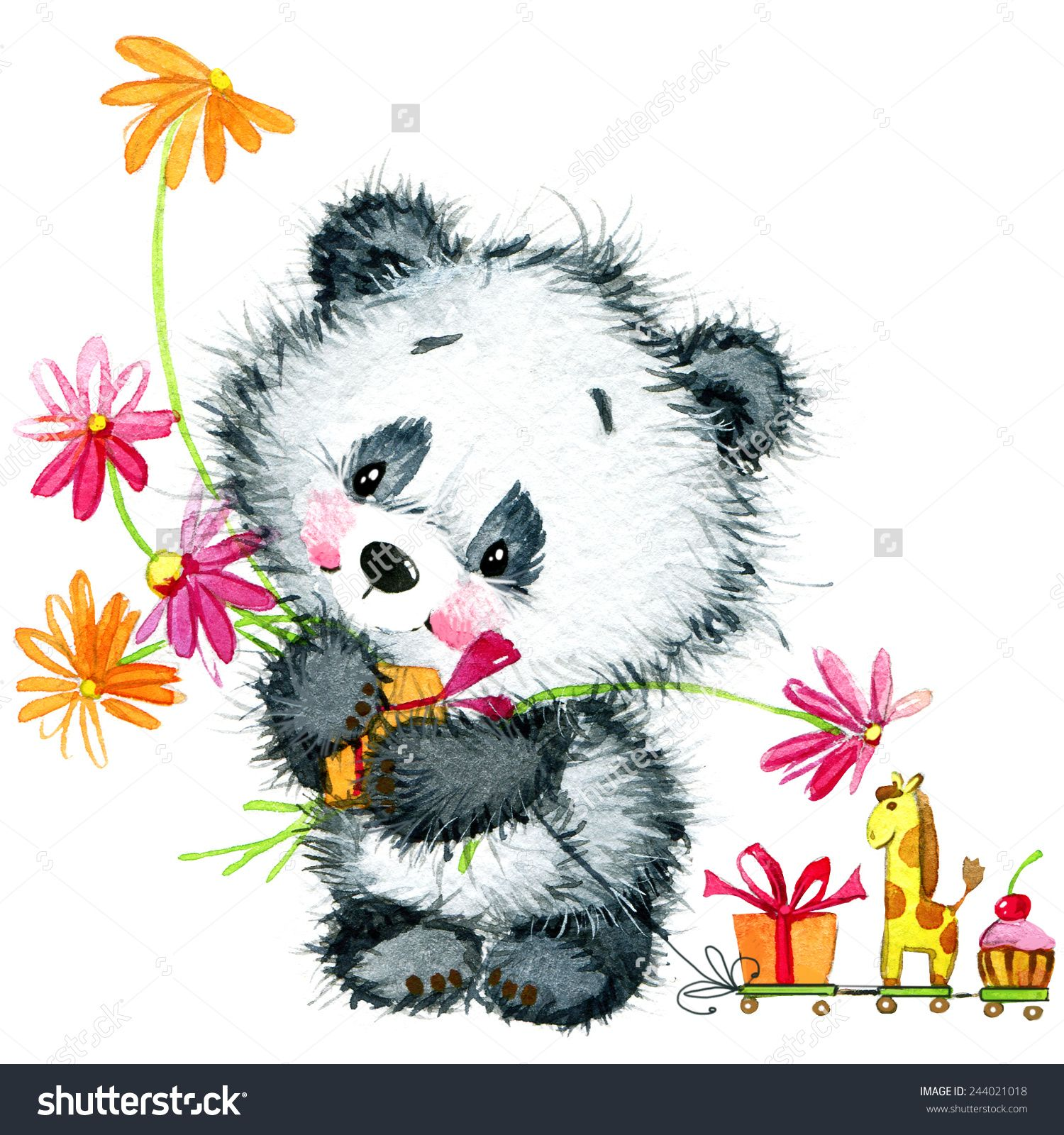 Little Panda Birthday Background For Greeting Card