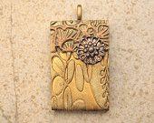 Handmade Floral Pendant Gold Brass Bronze Olive Green Mixed Media Pendant